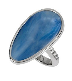 Kenneth Cole® Silvertone Semiprecious Faceted Stone Ring