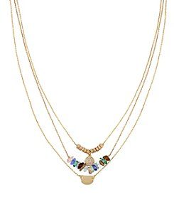 Kenneth Cole® Goldtone Pave Disc & Multi Colored Chip Bead Frontal Three Row Layered Necklace Set