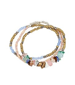 Kenneth Cole® Semiprecious Chip Bead Stretch Bracelet Set
