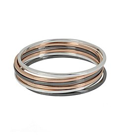 Kenneth Cole® Tri Tone Skinny Bangle Bracelet Set