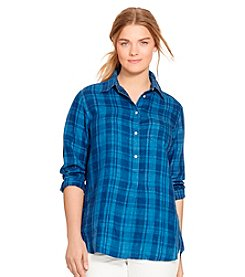 Lauren Ralph Lauren® Plus Size Plaid Linen Shirt