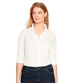 Lauren Ralph Lauren® Plus Size Pique Knit Cotton Shirt