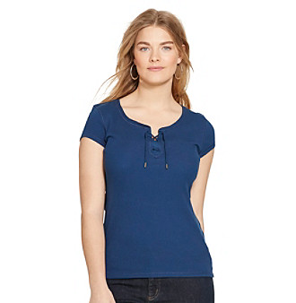 Lauren Jeans Co.® Plus Size Lace-Up Ribbed Cotton Tee