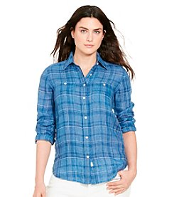 Lauren Jeans Co.® Plus Size Plaid Linen Shirt
