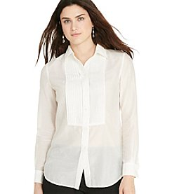 Lauren Ralph Lauren® Plus Size Pintucked Cotton-Silk Shirt
