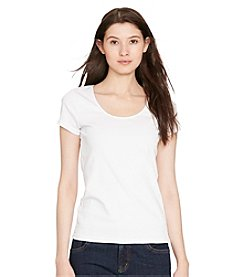 Lauren Ralph Lauren® Petites' Stretch Cotton Scoopneck Tee