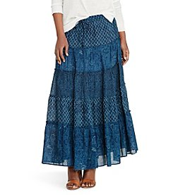 Lauren Jeans Co.® Petites' Tiered Cotton Gauze Maxi Skirt