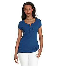 Lauren Jeans Co.® Petites' Lace-Up Ribbed Cotton Tee