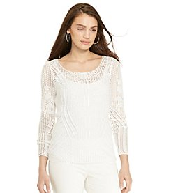 Lauren Ralph Lauren® Petites' Pointelle-Knit Cotton Sweater