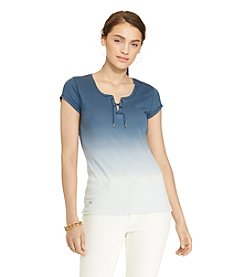 Lauren Jeans Co.® Zip-Shoulder Cotton Tee