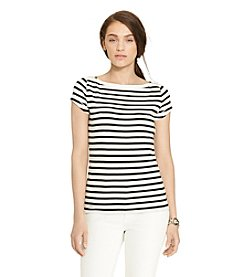 Lauren Jeans Co.® Zip-Shoulder Striped Tee