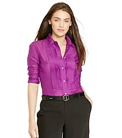 Lauren Ralph Lauren® Pintucked Cotton-Silk Shirt