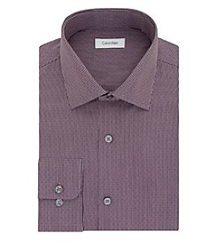 Calvin Klein Men's Regular Fit Garnet Dobby Long Sleeve Dress Shirt