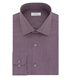 Calvin Klein Men's Regular Fit Garnet Dobby Long Sleeve Dress Shirt
