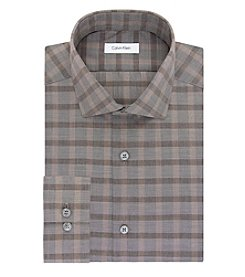 Calvin Klein Men's Slim Fit Tan Plaid Long Sleeve Dress Shirt