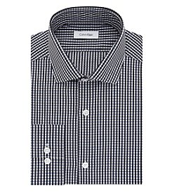 Calvin Klein Men's Slim Fit Black And Blue Checked Long Sleeve Dress Shirt