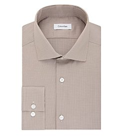 Calvin Klein Men's Slim Fit Mocha Textured Long Sleeve Dress Shirt