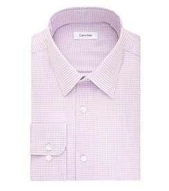 Calvin Klein Men's Purple Check Long Sleeve Dress Shirt