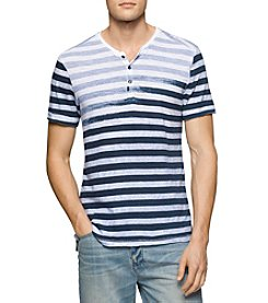 Calvin Klein Jeans® Men's Faded Stripe Short Sleeve Split Neck Tee