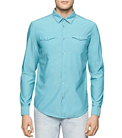 Calvin Klein Jeans® Men's Chambray Aviator Long Sleeve Button Down Shirt