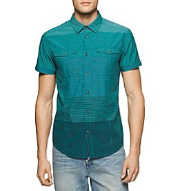 Calvin Klein Jeans® Men's Color Block Stripe Short Sleeve Button Down Shirt
