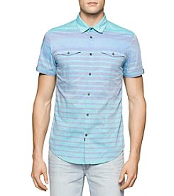 Calvin Klein Jeans® Men's Horizontal Stripe Short Sleeve Button Down Shirt