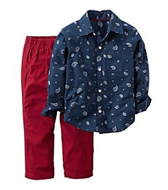 Carter's® Boys' 2T-4T 2-Piece Paisley Button Down And Pants Set