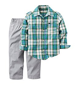 Carter's® Boys' 2T-4T 2-Piece Plaid Button Down And Pants Set