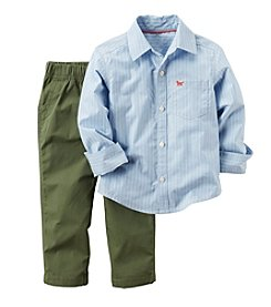 Carter's® Boys' 2T-4T 2-Piece Striped Button Down And Pants Set