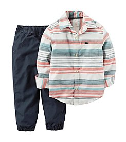 Carter's® Boys' 2T-4T 2-Piece Striped Button Down And Joggers Set