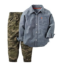 Carter's® Boys' 2T-4T 2-Piece Chambray Button Down And Camo Pants Set