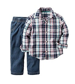 Carter's® Baby Boys 2-Piece Plaid Shirt And Denim Pants Set