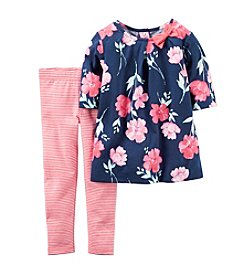 Carter's® Baby Girls' 2-Piece Floral Top And Striped Leggings Set