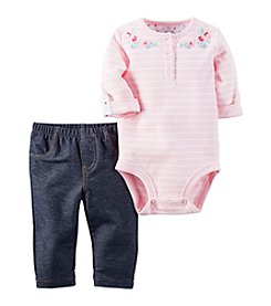 Carter's® Baby Girls' 2-Piece Striped Bodysuit And Jeggings Set