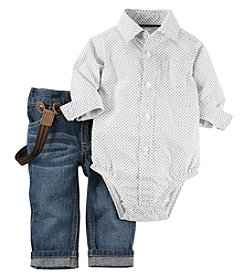 Carter's® Baby Boys Button Down Bodysuit And Pants With Suspenders Set