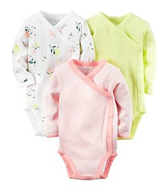 Carter's® Baby Girls' 3-Pack Floral Side Snap Bodysuits
