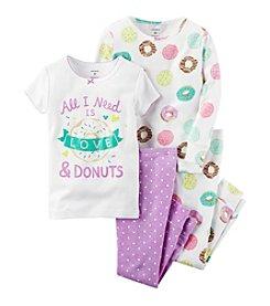 Carter's® Girls' 12M-12 4-Piece Love & Donuts Pajama Set