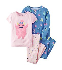 Carter's® Girls' 12M-12 4-Piece Silly Monster Pajama Set