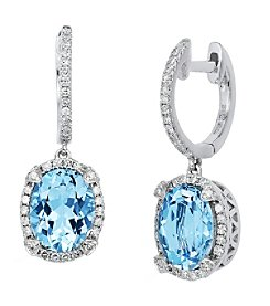 Effy® 0.33 ct. tw. Diamond and Aquamarine Earrings in 14K White Gold