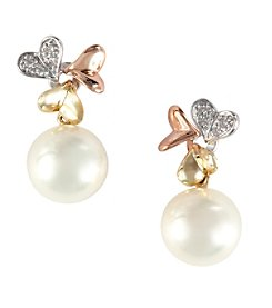 Effy® 0.04 ct. tw. Diamond Accented Freshwater Pearl Earrings in 14K Rose, Yellow, and White Gold