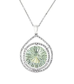 Effy® 0.39 ct. tw. Diamond and Green Amethyst Pendant in 14k White Gold