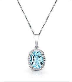 Effy® 0.12 ct. tw. Diamond and Aquamarine Pendant in 14K White Gold