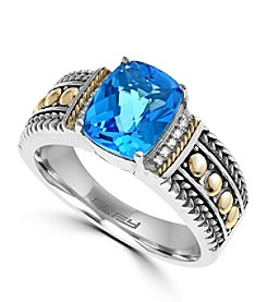 Effy® 925 Collection 0.04 ct. tw. Diamond and Blue Topaz Ring in Sterling Silver