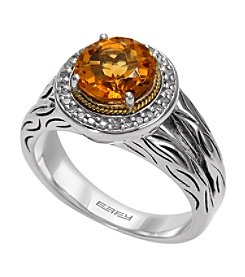 Effy® 925 Collection 0.14 ct. tw. Diamond and Citrine Ring in Sterling Silver
