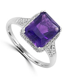 Effy® 0.20 ct. tw. Diamond and Amethyst Ring in 14k White Gold