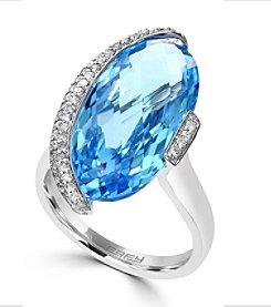 Effy® 0.22 ct. tw. Diamond and Blue Topaz Ring in 14k White Gold