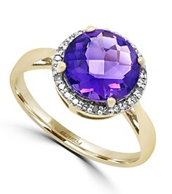 Effy® 0.10 ct. tw. Diamond and Amethyst Ring in 14K Yellow Gold