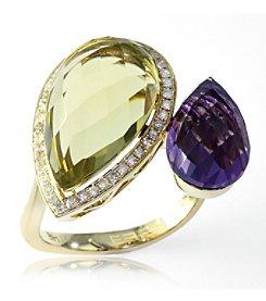 Effy® 0.20 ct. tw. Diamond, Amethyst, and Lemon Quartz Ring in 14K Yellow Gold