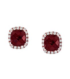 Effy® 0.25 ct. tw. Diamond and Rhodolite Earrings in 14K Rose Gold