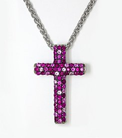 Effy® 925 Collection Shades of Ruby Cross Pendant in Sterling Silver